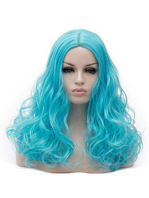 Long Middle Part Curly Synthetic Party Cosplay Wig - BLUE ZIRCON