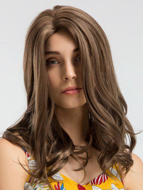 Long Capless Side Parting Natural Wavy Synthetic Wig - WOOD