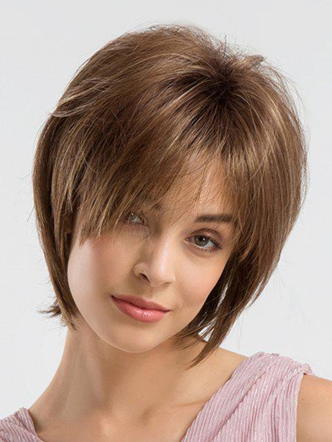 Inclined Fringe Straight Short Capless Synthetic Wig - BROWN