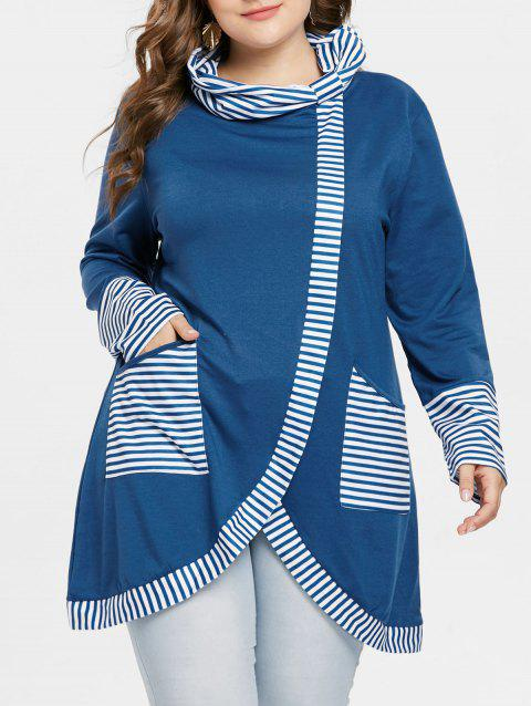 Plus Size Front Slit Striped Panel Sweatshirt - BLUE L