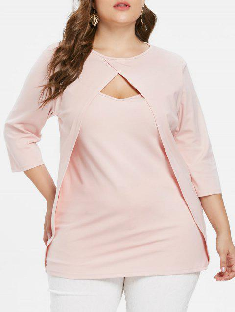 Long Sleeve Plus Size Front Cut Out T-shirt - PINK BUBBLEGUM 1X