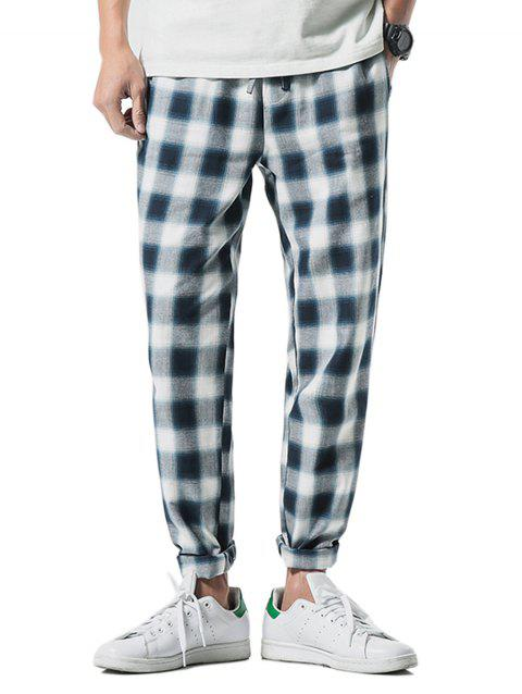 Straight Leg Plaid Print Drawstring Pants - BLUE IVY S