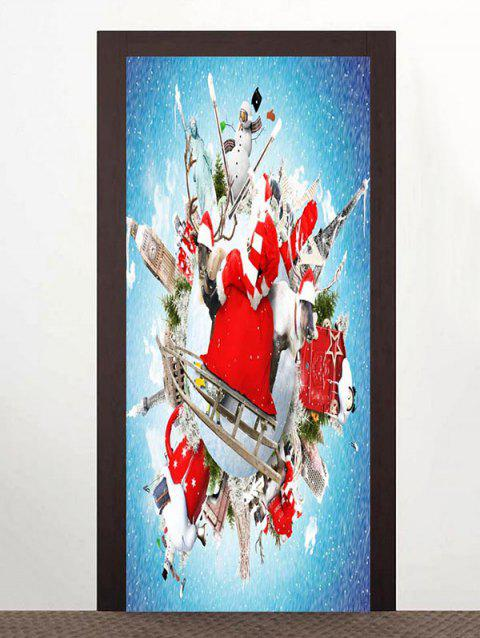 Christmas Theme Print Door Art Stickers - multicolor 2PCS X 15 X 79 INCH