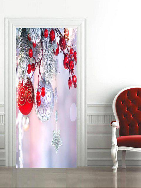Christmas Ball Print Door Art Stickers - multicolor 2PCS X 15 X 79 INCH