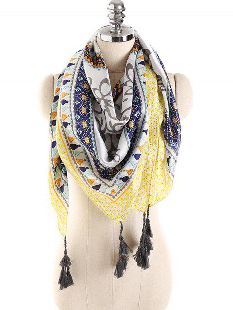 Stylish Dreamy Printed Fringed Long Scarf - YELLOW