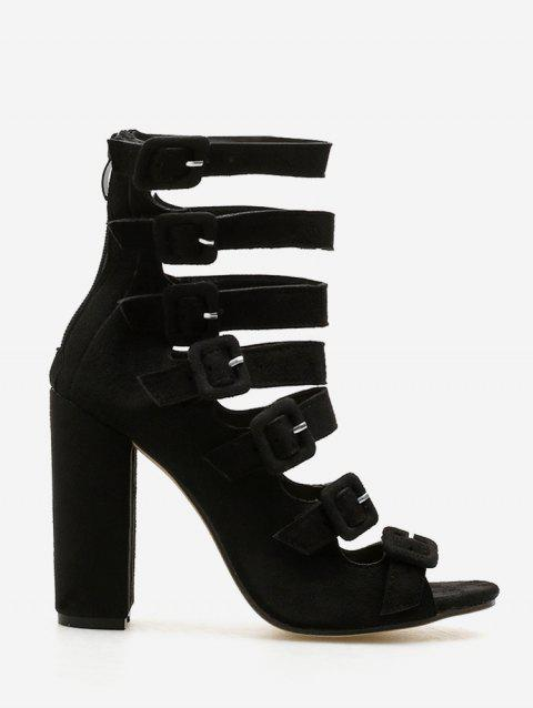 Chunky Heel Buckle Strap Sandals - BLACK EU 38