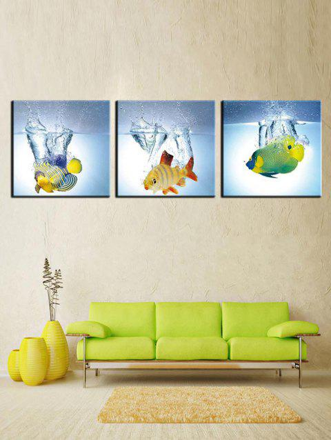 Fish Water Print Unframed Canvas Paintings - multicolor 3PCS X 16 X 16 INCH( NO FRAME )