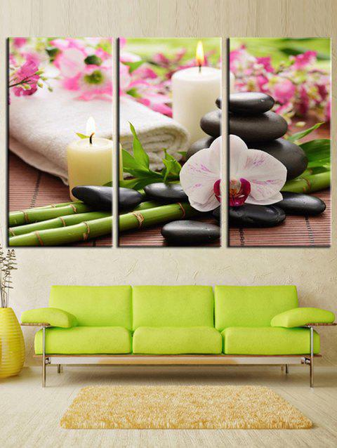 Candle and Stones Unframed Canvas Paintings - multicolor 3PCS X 8 X 16 INCH( NO FRAME )