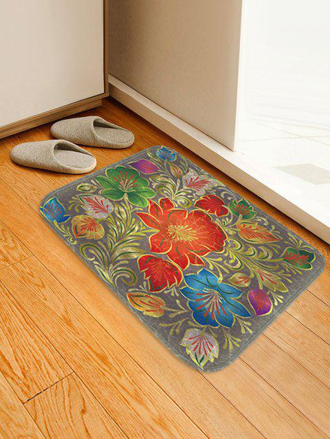 Vintage Flowers Pattern Anti-skid Flannel Area Rug - multicolor W20 X L31.5 INCH