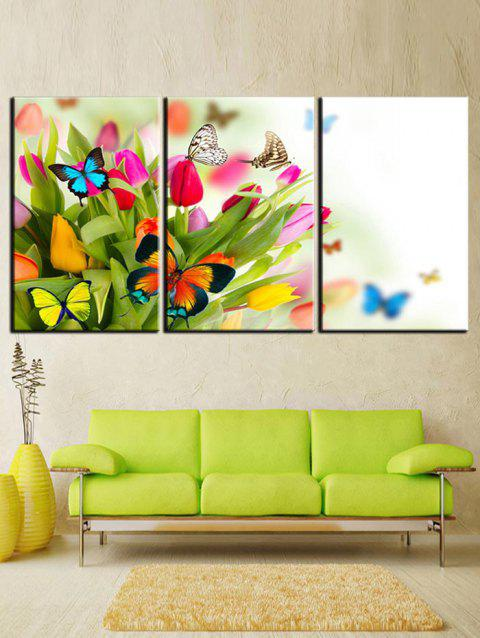 Butterfly and Flowers Print Unframed Canvas Paintings - multicolor 3PCS X 16 X 24 INCH( NO FRAME)