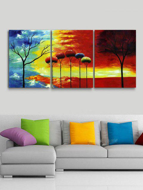 Sunset Trees Print Unframed Canvas Paintings - multicolor 3PCS X 20 X 29.5 INCH( NO FRAME )