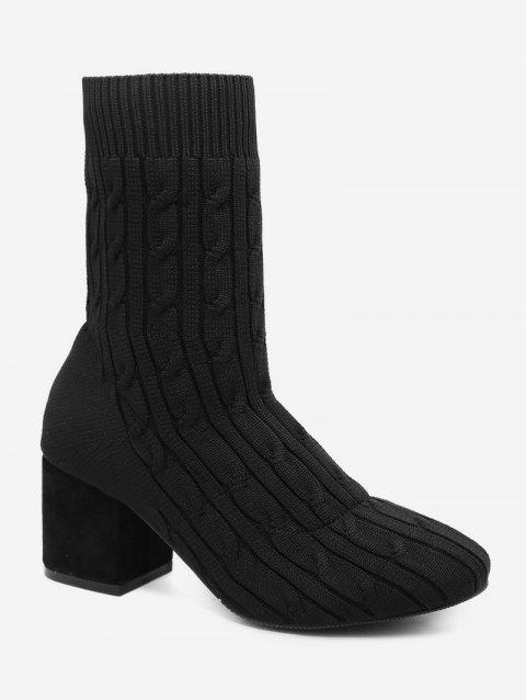 Cable Knit Elastic Sock Ankle Boots - BLACK EU 38