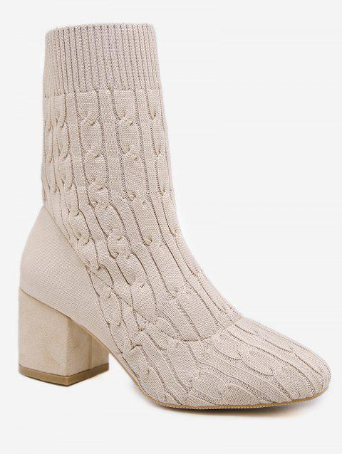 Plain Chunky Heel Cable Knit Sock Boots - WARM WHITE EU 39