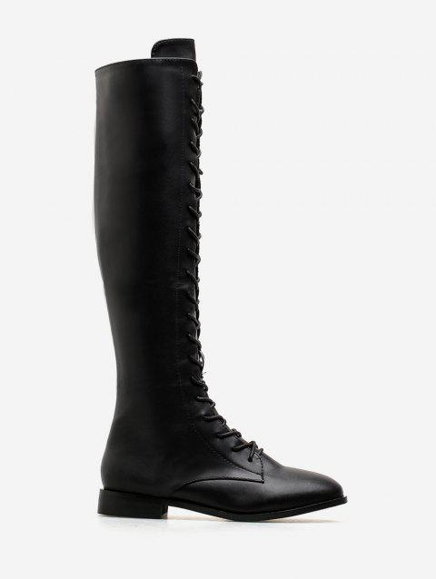 PU Leather Flat Knee High Boots - BLACK EU 38
