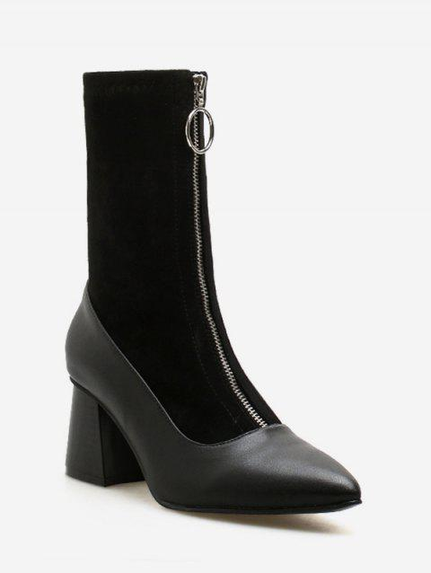 Block Heel Pointed Toe Ankle Boots - BLACK EU 38