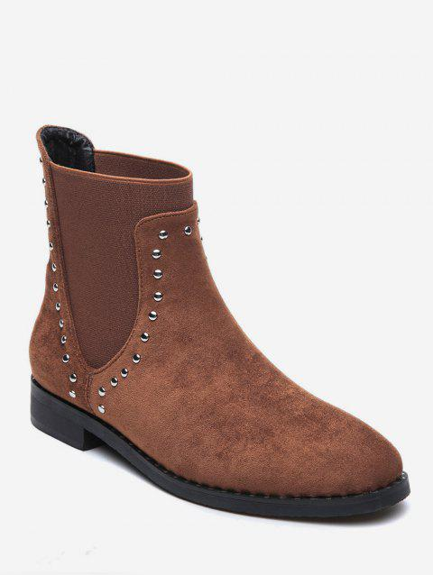 Stud Trim Round Toe Faux Suede Chelsea Boots - BROWN EU 39