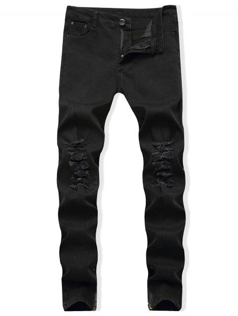 Distressed Zip Hem Tapered Jeans - BLACK 36