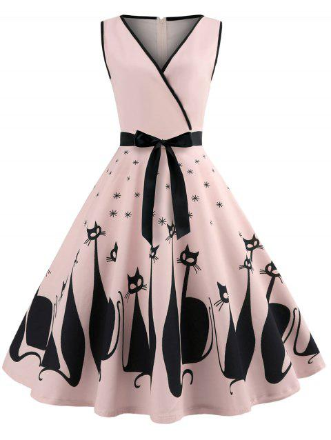 Sleeveless Cat Pattern A Line Dress - PINK XL