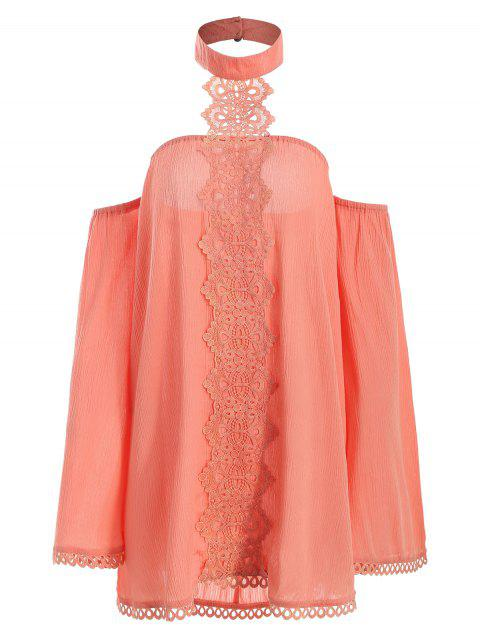 Halter Lace Insert Blouse - ORANGE 2XL