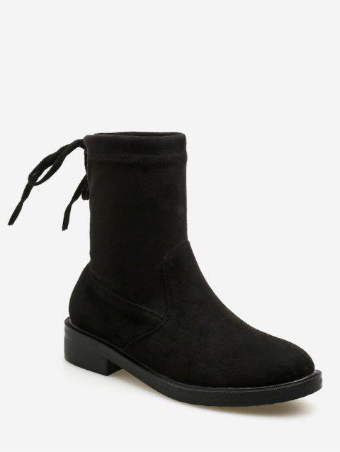 Tie Back Suede Ankle Boots - BLACK EU 37