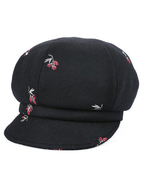 Vintage Floral Embroidery Newsboy Hat - JET BLACK