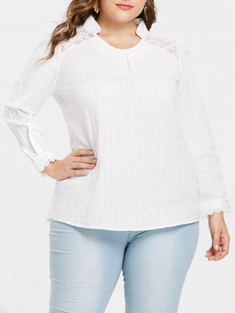 Plus Size Lace Stand Up Collar Blouse - WHITE L