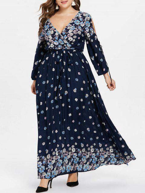 Plus Size Floral Tie Sleeve Surplice Dress - DEEP BLUE L