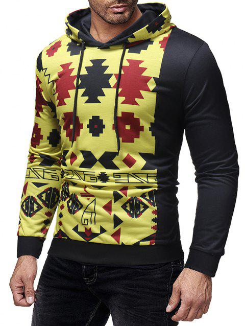 Single Sleeve Geometric Printed Pullover Hoodie - multicolor XL