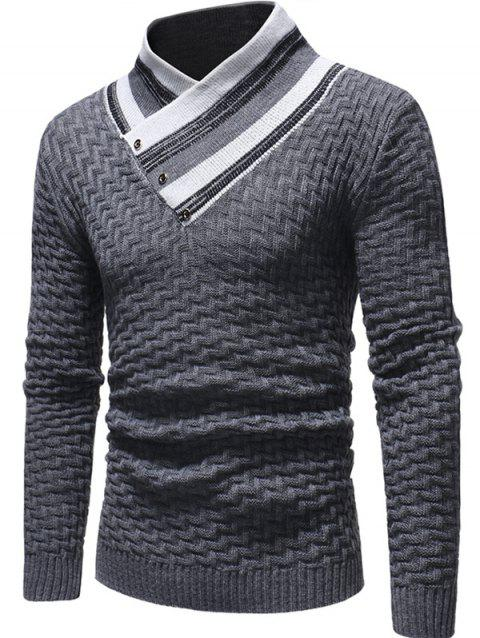 Button Embellished Casual Knitted Sweater - GRAY L