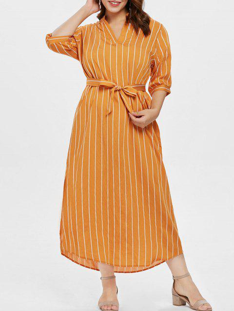 Belted Plus Size Striped Ankle Length Dress - YELLOW 1X