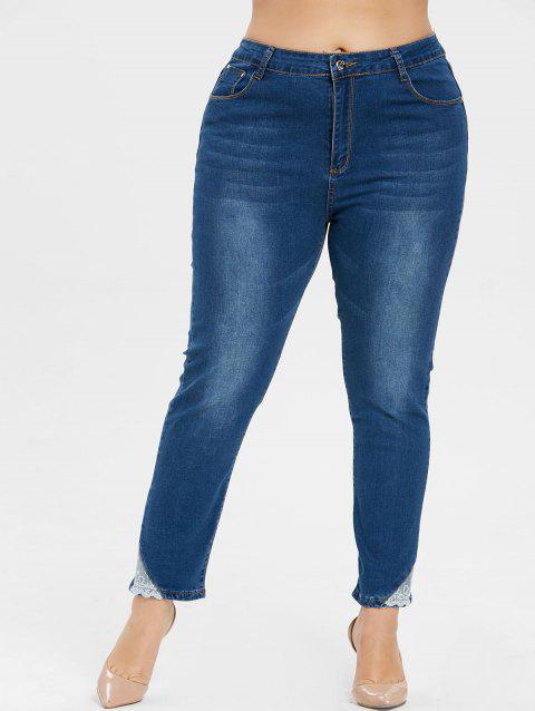 Plus Size Lace Trim Ninth Jeans - JEANS BLUE 1X