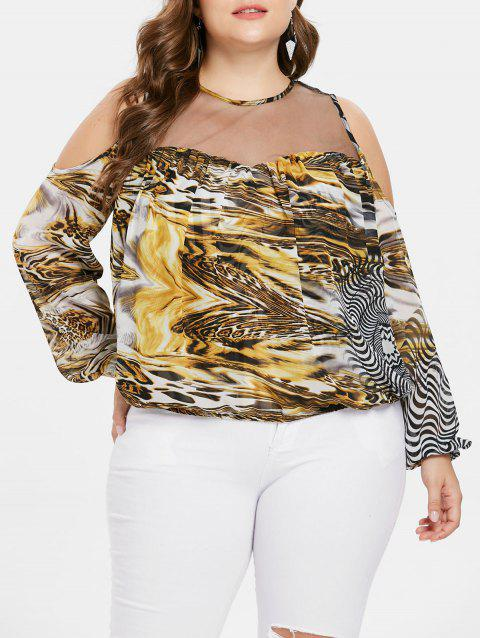 Plus Size Mesh Detail Open Shoulder Blouse - BRIGHT YELLOW 5X