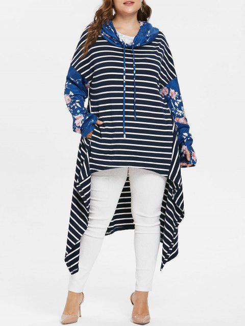 Plus Size Striped High Low Hoodie - BLUE 1X