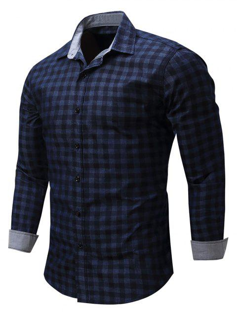 Checked Print Long Sleeve Casual  Shirt - BLUE XL