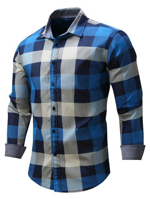 Casual Color Block Checked Shirt - BLUE 3XL