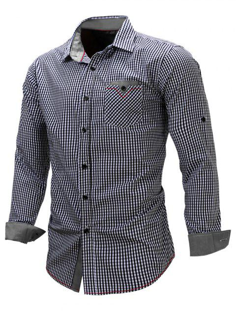 Checked Print Pocket Design Shirt - GRAY 2XL
