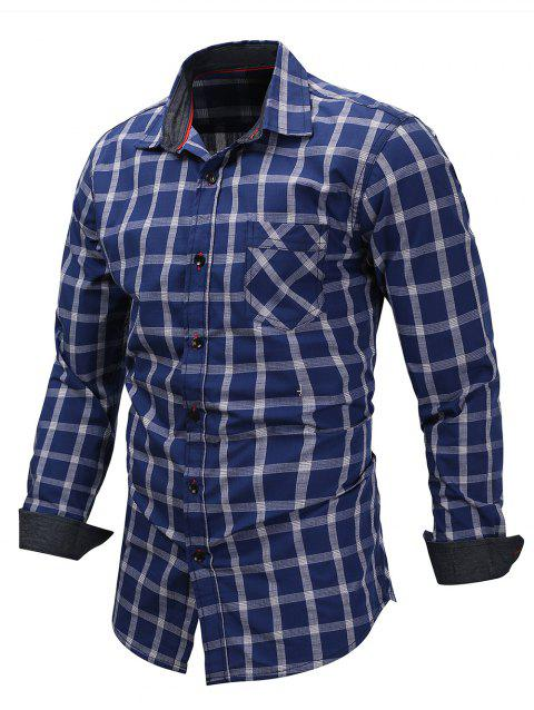 Chest Pocket Checked Print Shirt - BLUE L