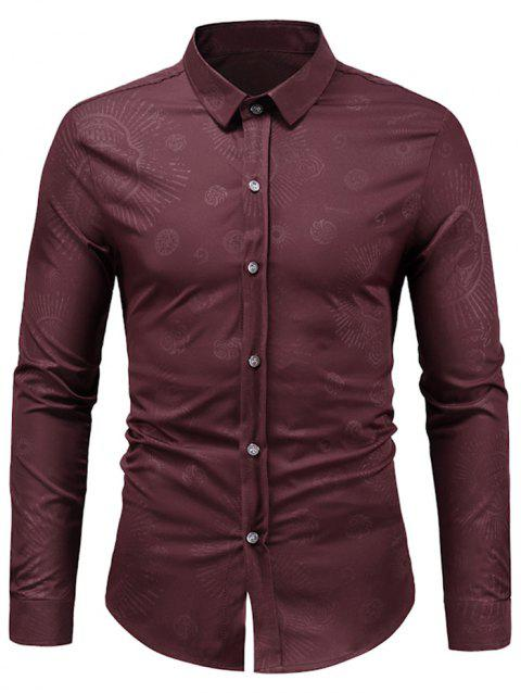 Long Sleeve Skull Print Shirt - RED WINE M