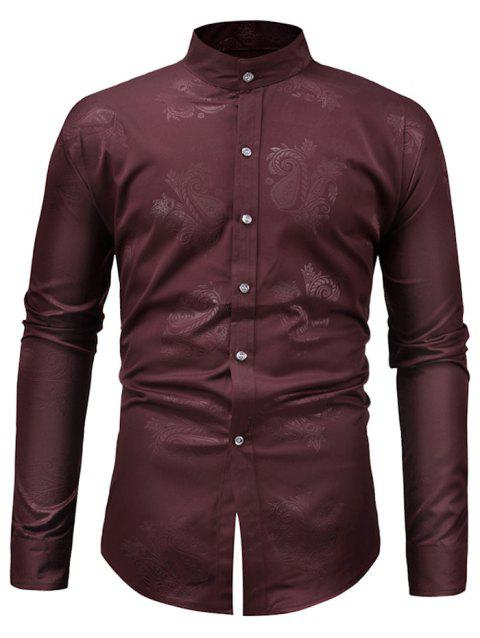 Paisley Print Slim Fit Shirt - RED WINE S