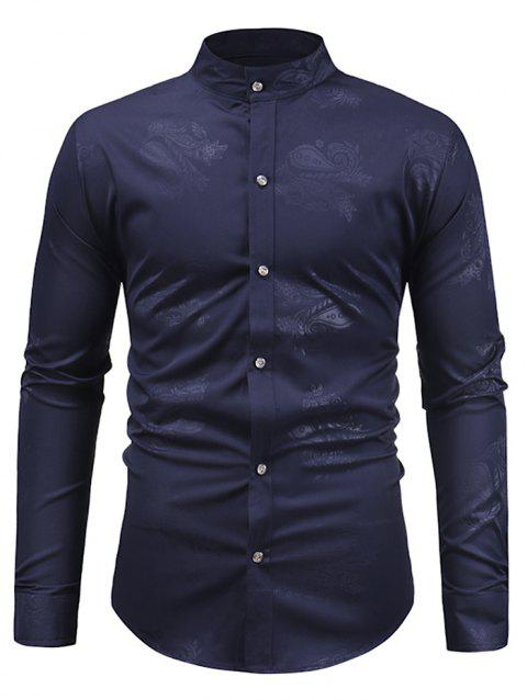 Paisley Print Slim Fit Shirt - CADETBLUE M