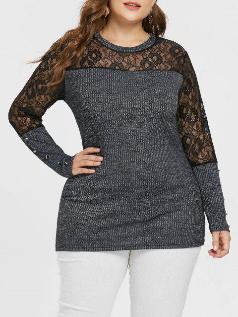 Plus Size Lace Panel Buttoned Knitwear - GRAY 5X