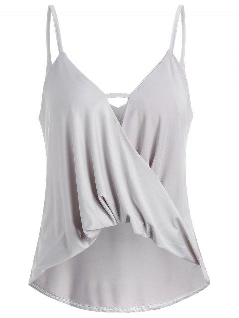 Thin Straps Twist Front Tank Top - LIGHT GRAY XL