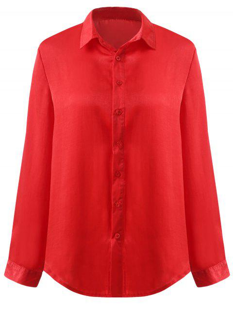 52671a6f7 41% OFF] 2019 Lapel Neck Button Up Blouse In RED S | DressLily.com