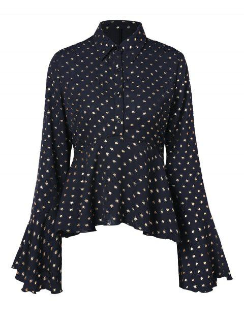 Polka Dot Half Button Peplum Shirt - BLACK L
