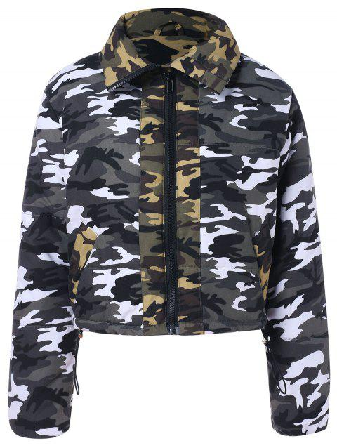 Shirt Collar Zip Up Cropped Camouflage Jacket - ACU CAMOUFLAGE XL