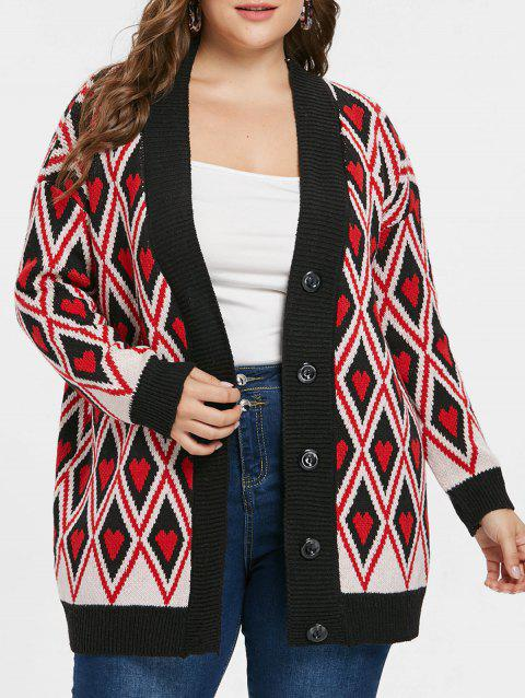 Rhombus and Heart Print Button Cardigan - RED ONE SIZE