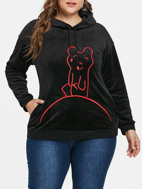 Plus Size Crushed Graphic Hoodie - BLACK L