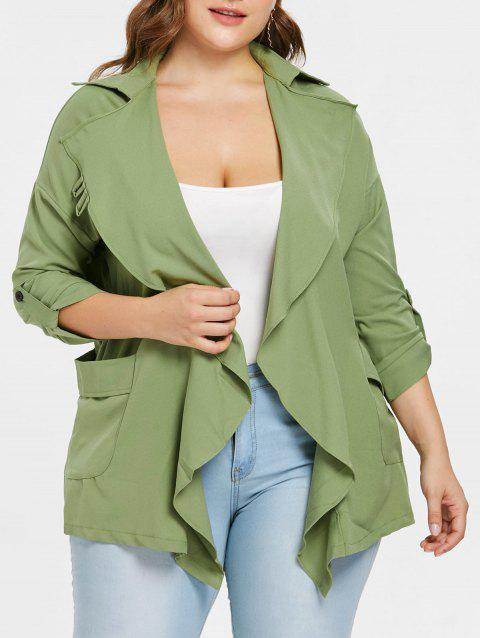 Plus Size Asymmetrical Coat - GREEN 1X