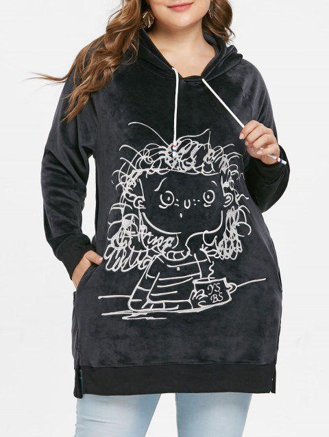 Plus Size Crushed Long Hoodie - BLACK 1X