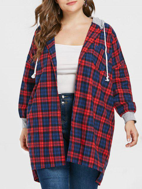 Button Detail Plus Size Tartan Hooded Shirt - RED ONE SIZE